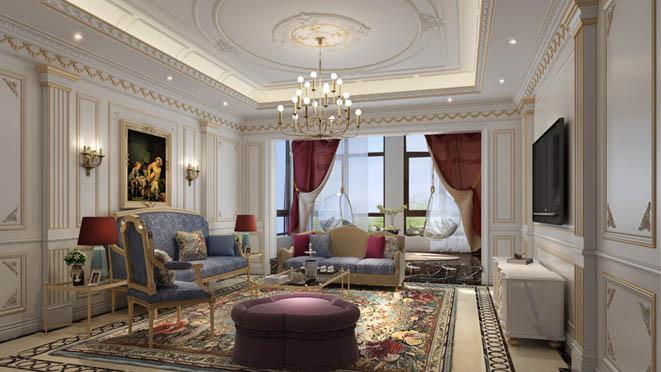 棕榈滩法式客厅别墅装修效果图