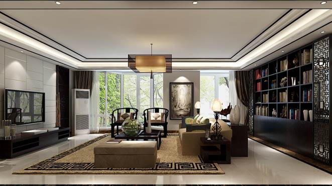 金科王府新中式客厅别墅装修效果图图片