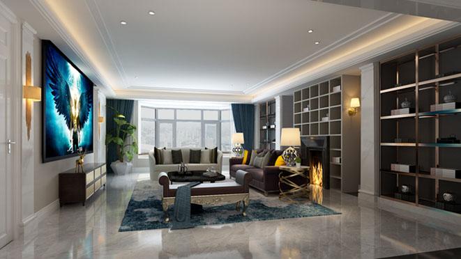 海德公园欧式新古典客厅别墅装修效果图