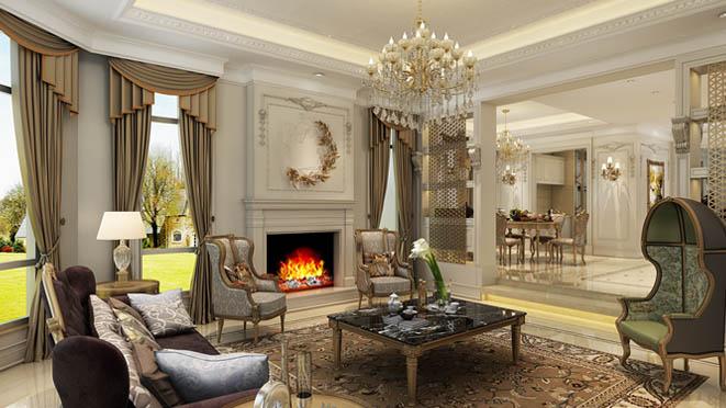 保利垄上欧式客厅别墅装修设计效果图