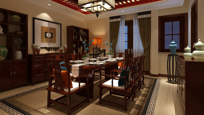 卡尔生活馆中式餐厅别墅装修效果图