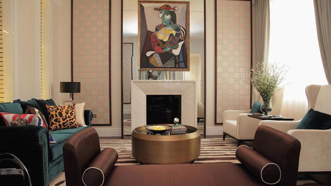 东岸国际简欧客厅别墅装修效果图