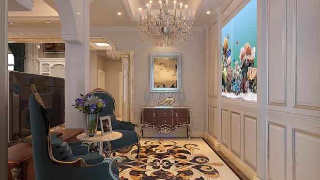 上京王府新古典后门厅别墅装修效果图