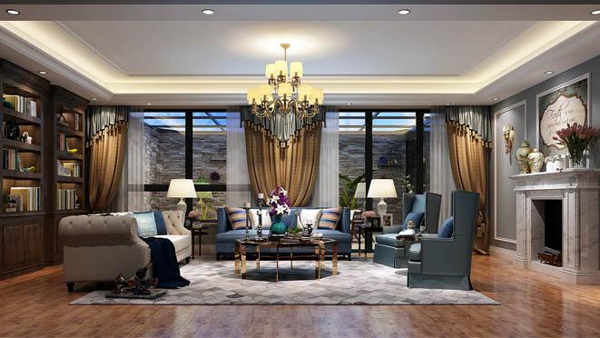 万科如园美式客厅别墅装修效果图