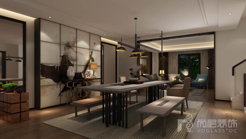 千章墅现代自然主义餐厅别墅装修效果图