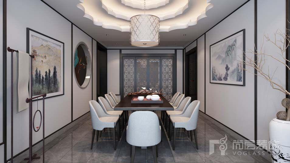 艾力枫社新中式餐厅别墅装修效果图