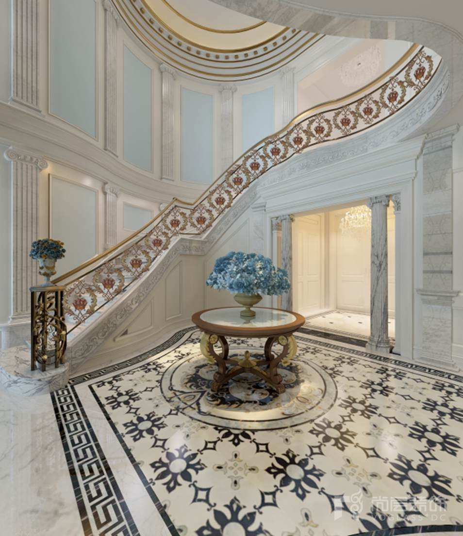 碧水庄园法式新古典楼梯厅别墅装修效果图