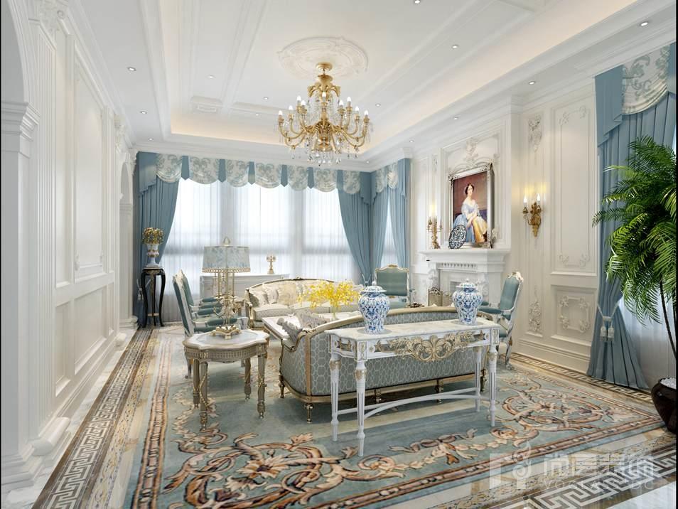 碧水庄园法式新古典客厅别墅装修效果图