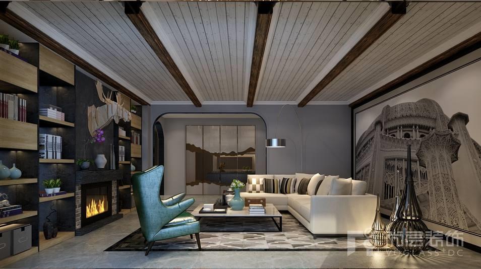 观山悦现代地下一层客厅别墅装修效果图