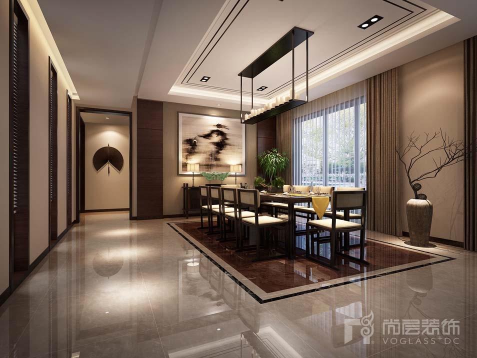 御墅新中式餐厅别墅装修效果图