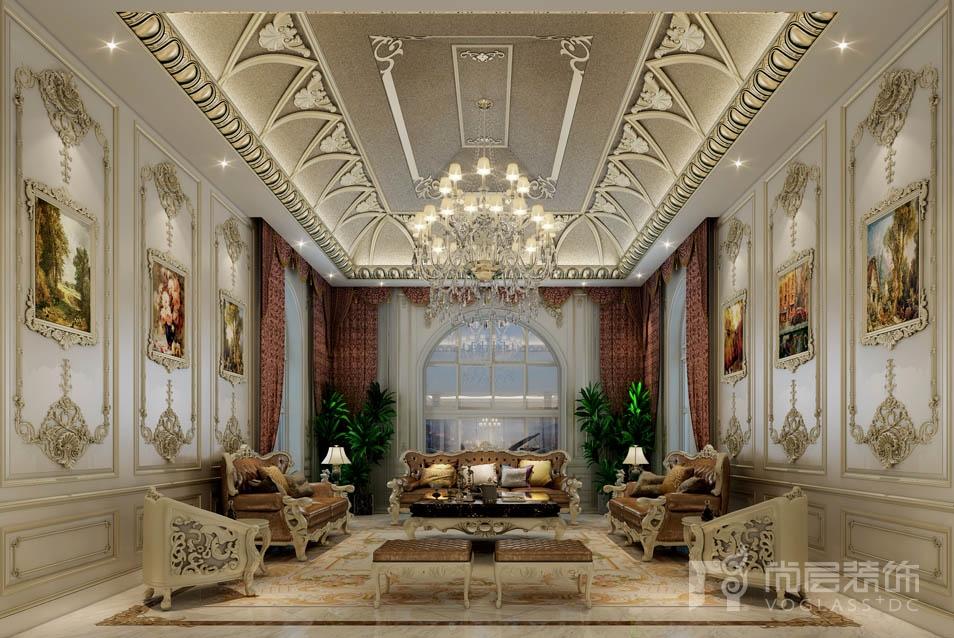 格拉斯小镇欧式会客厅别墅装修效果图