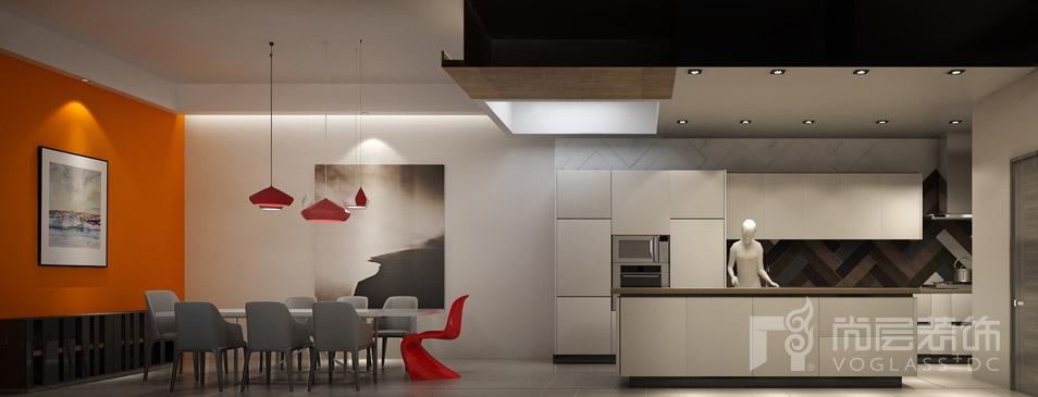 北京院子现代餐厅及厨房别墅装修效果图