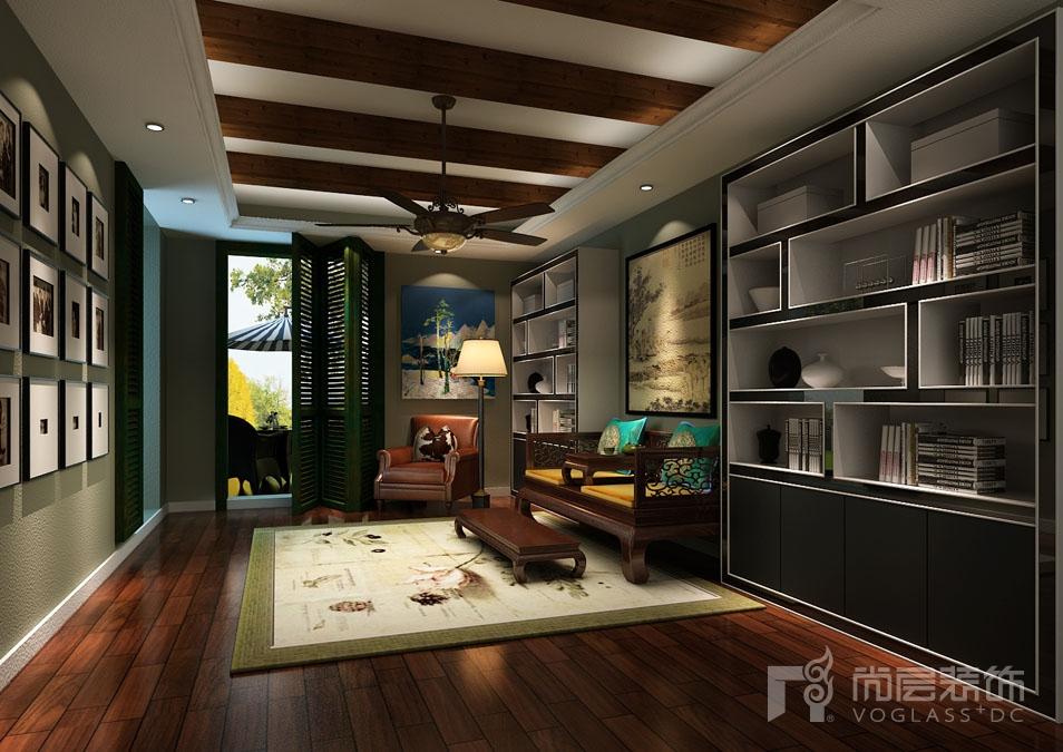餐厅与客厅自然衔接,整体别墅装修设计简化了繁琐的线条,色彩