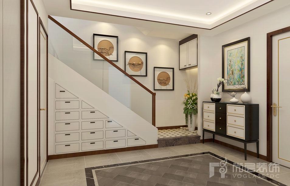 枫丹壹号新中式地下二层门厅别墅装修效果图