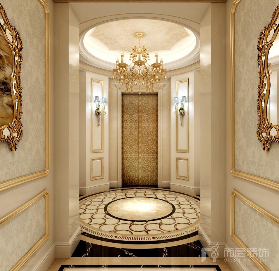 远洋天著法式新古典电梯厅别墅装修效果图