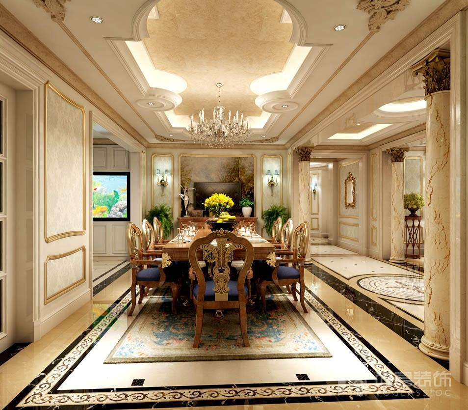 远洋天著法式新古典餐厅别墅装修效果图