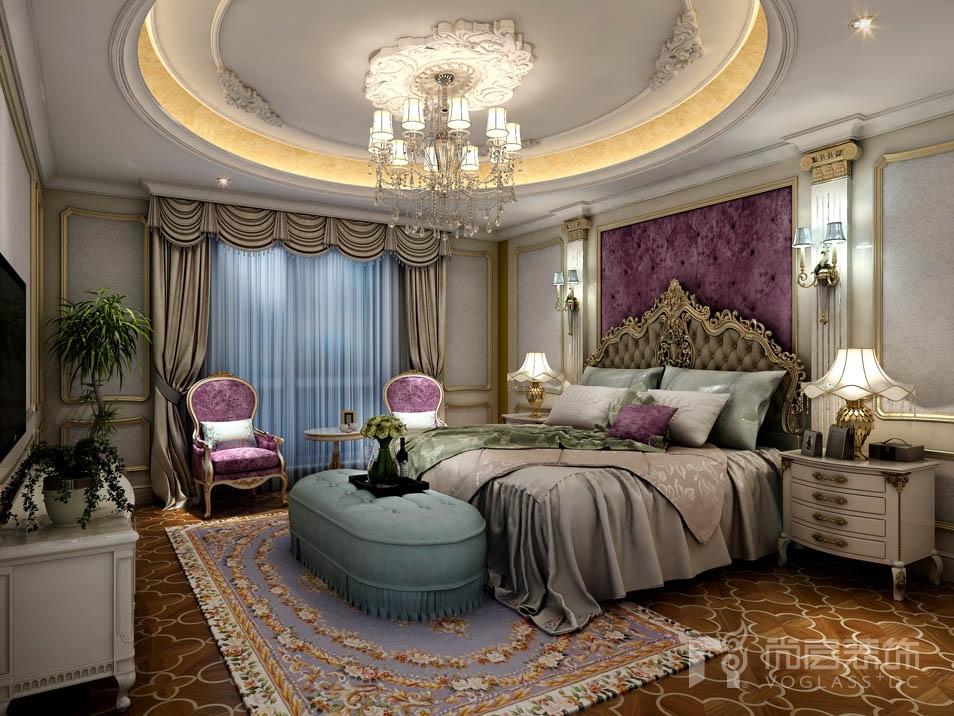 远洋天著法式新古典卧室别墅装修效果图