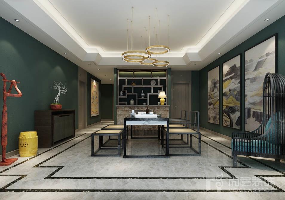 鲁能七号院新中式茶室别墅装修效果图