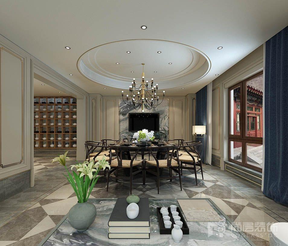 香山清琴新古典中餐厅别墅装修效果图