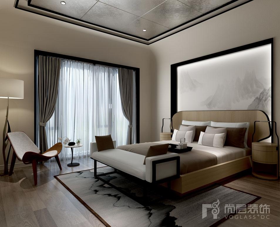 北京院子新中式二层卧室别墅装修效果图