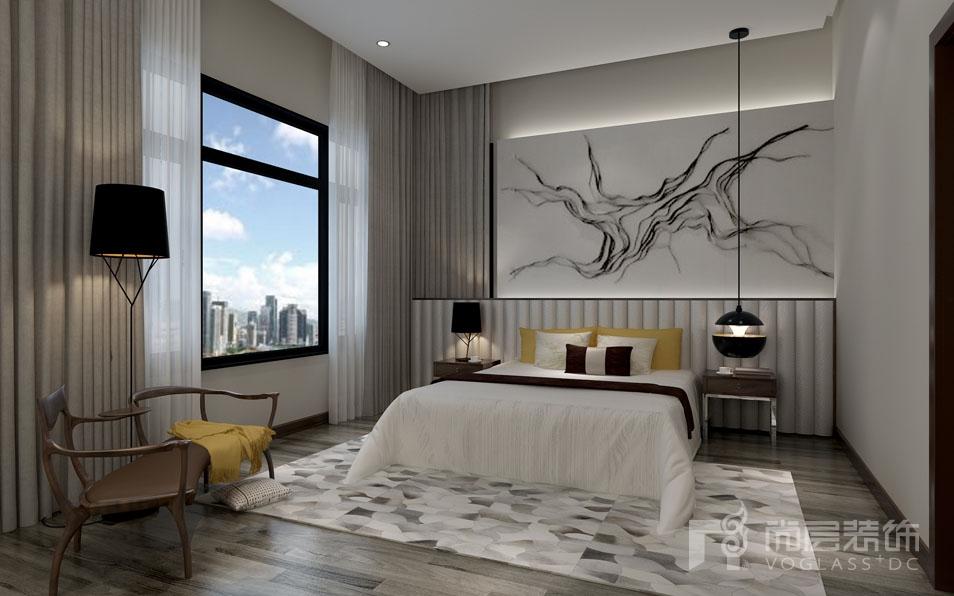 北京院子新中式三层卧室别墅装修效果图