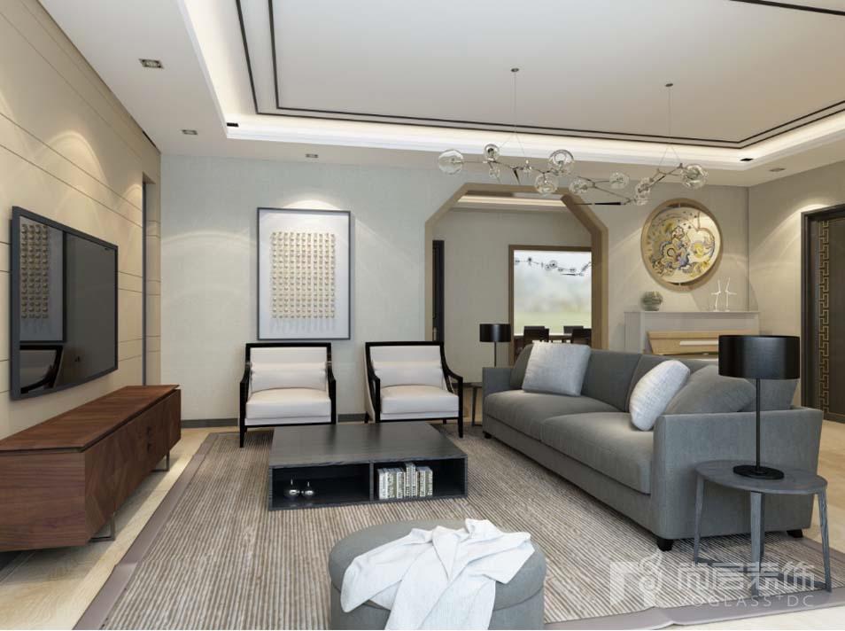 八仙别墅新中式客厅别墅装修效果图