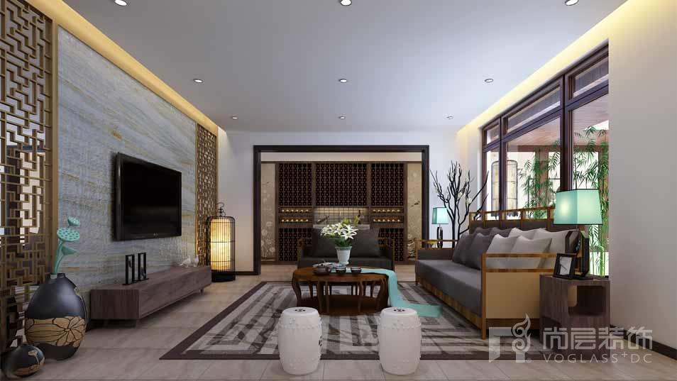 北京院子新中式客厅别墅装修效果图