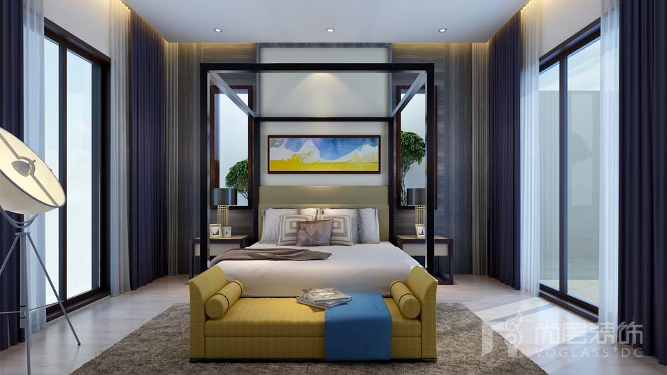 北京院子新中式卧室别墅装修效果图