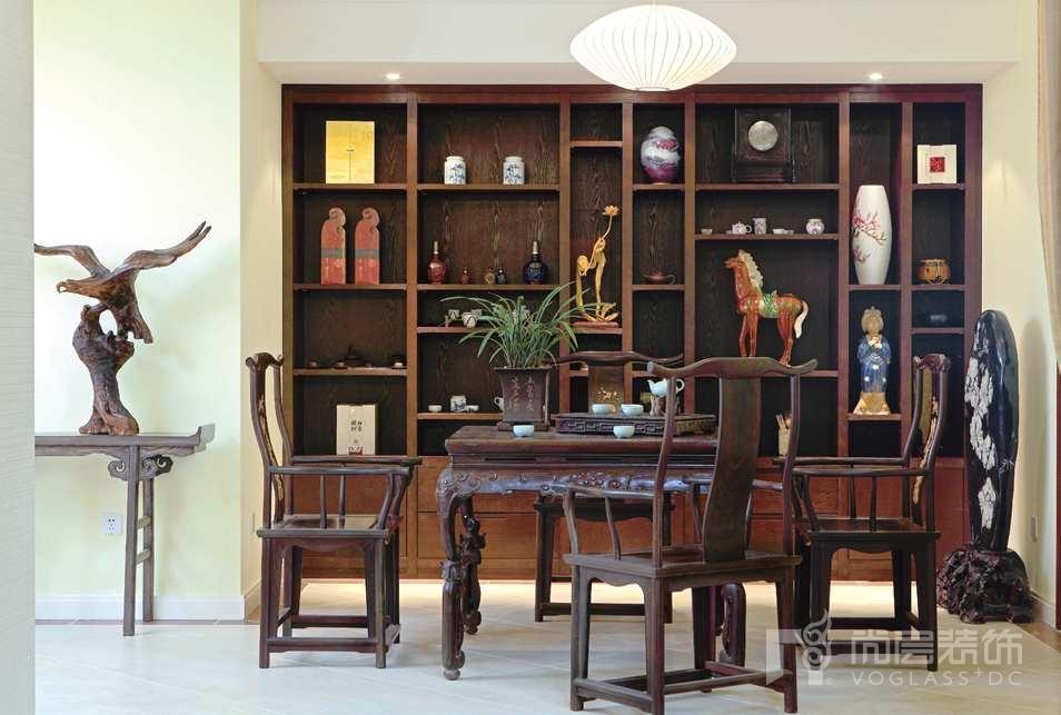 西山林语中式茶室别墅装修实景图