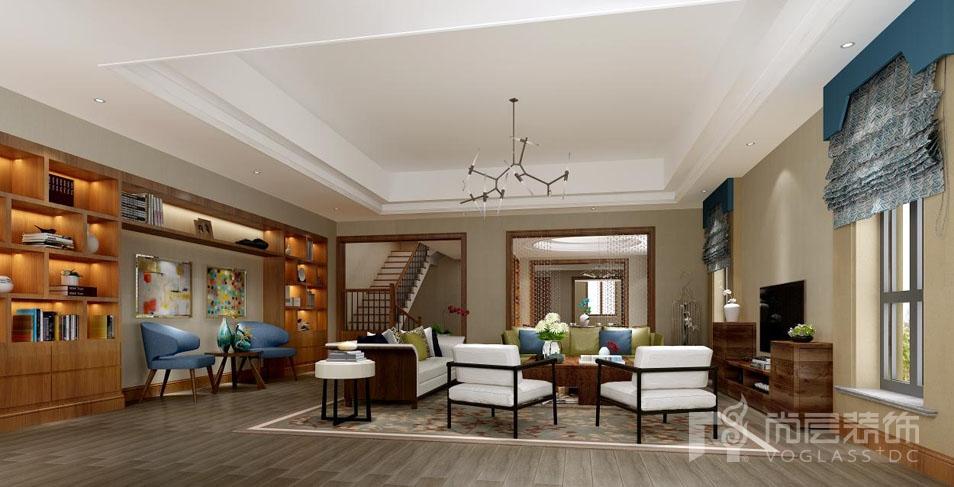 红橡墅新中式客厅别墅装修效果图