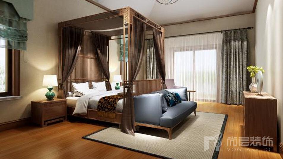 红橡墅新中式卧室别墅装修效果图