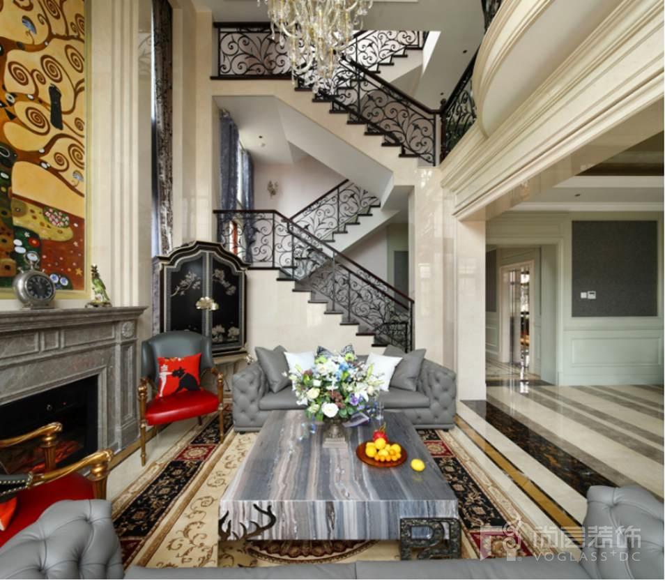 东方普罗旺斯别墅装修设计在施工地实景照片