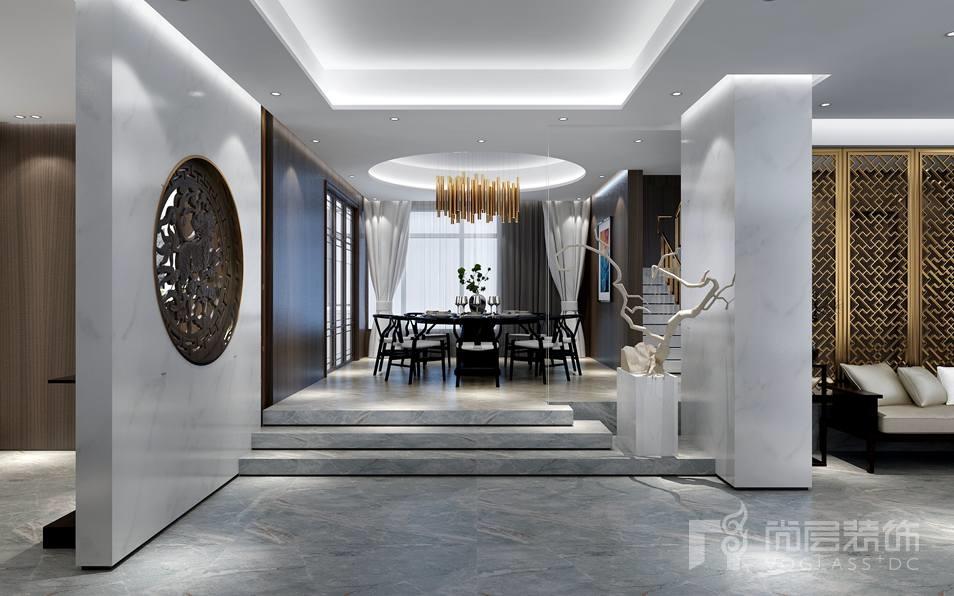 北京湾简约美式新古典别墅餐厅装修实景图