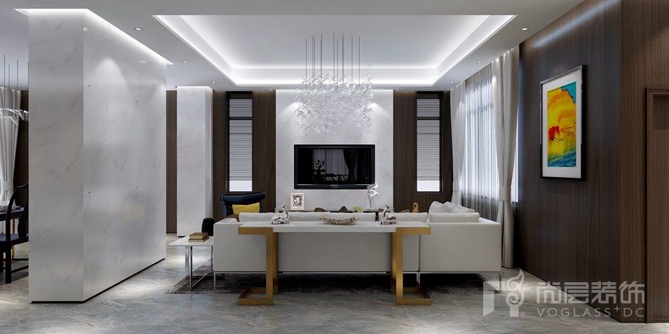 北京湾简欧美式新古典别墅客厅装修实景图