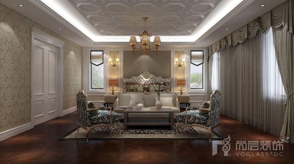 北京湾简约美式新古典别墅主卧装修实景图