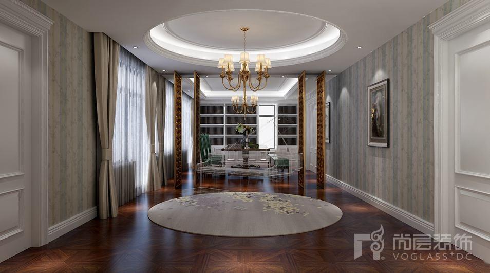 北京湾简约美式新古典别墅休闲室装修实景图