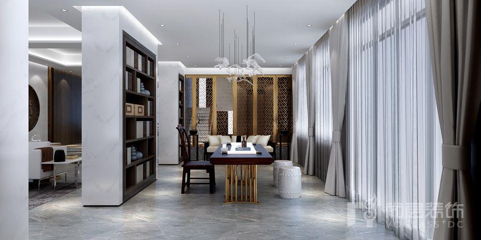 北京湾简约美式新古典别墅书房装修实景图