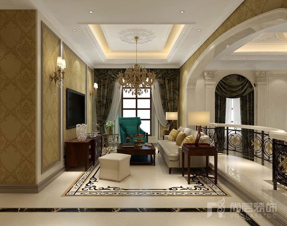 金科王府美式混搭别墅家庭室装修实景图