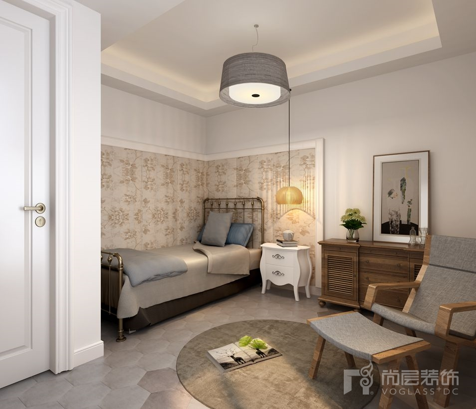 满庭芳园新中式别墅次卧装修实景图