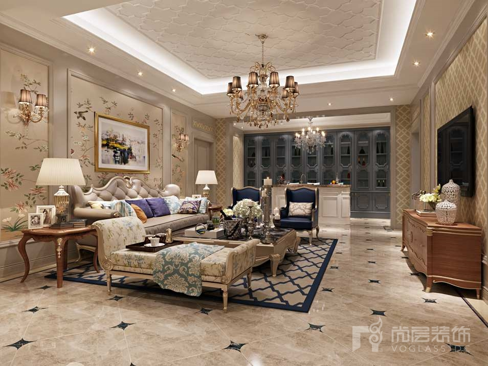 鲁能七号院法式地下会客厅别墅装修效果图