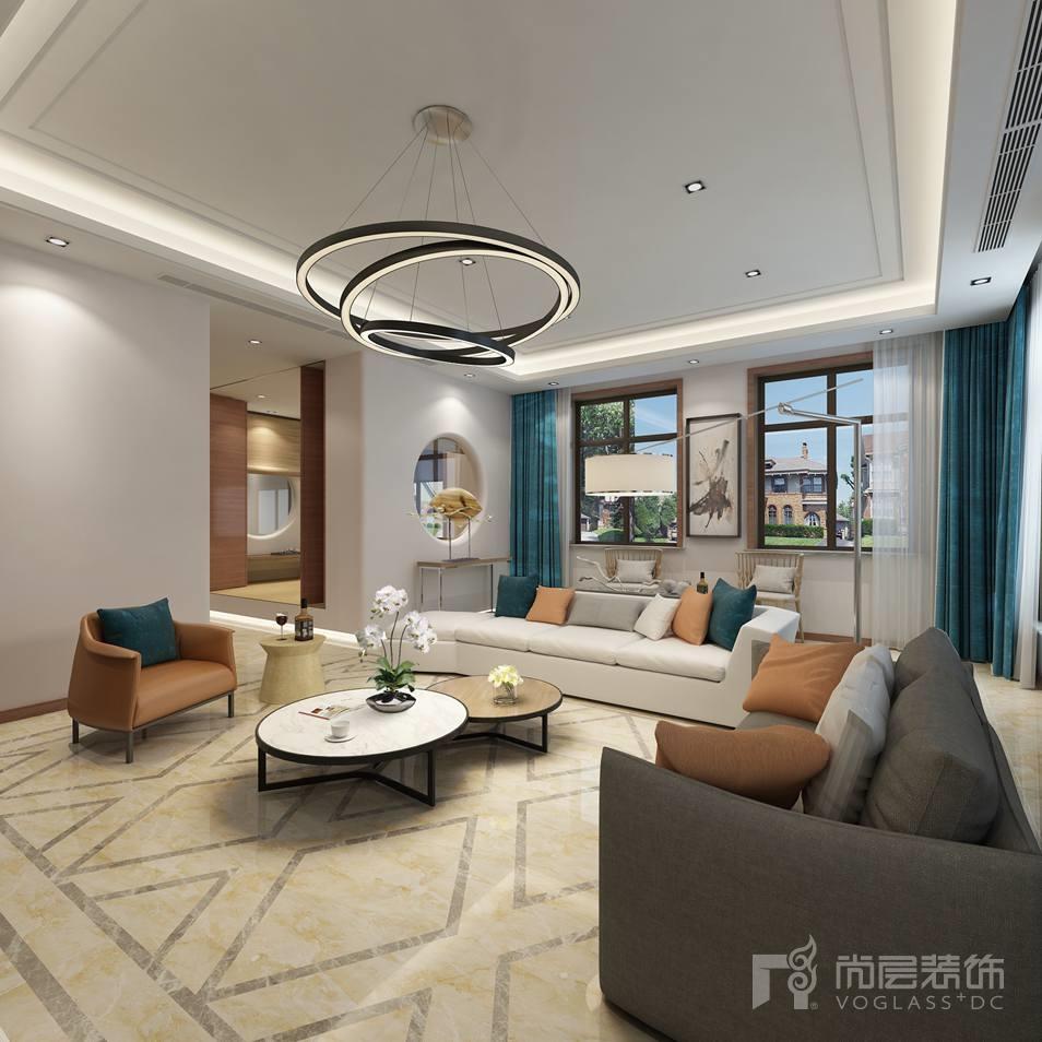 中海尚湖世家现代客厅别墅装修设计效果图
