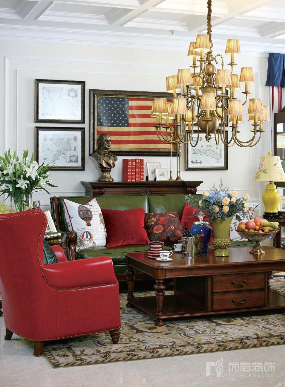 尚层装饰别墅生活美式客厅