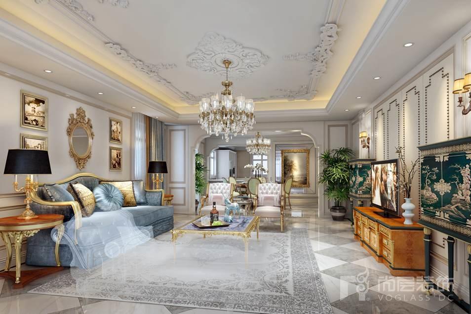 西山壹号院法式客厅别墅设计装修效果图