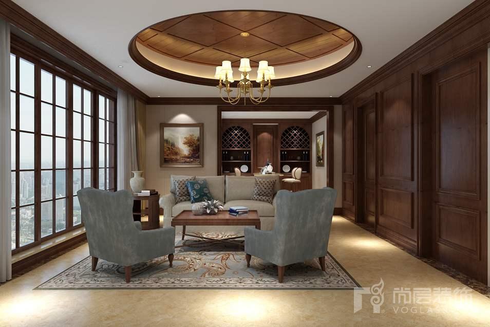 温哥华森林新中式别墅休闲厅装修实景图