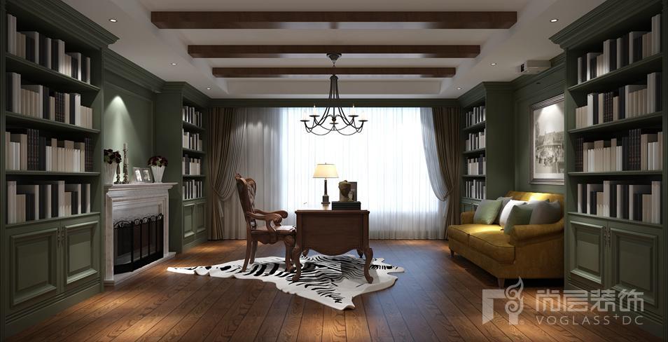 温哥华森林新中式别墅阅览室装修实景图