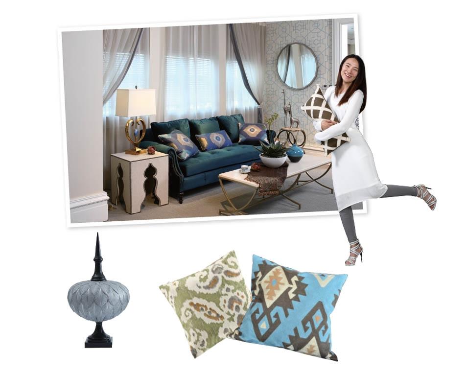 尚层装饰别墅生活深绿色沙发的搭配