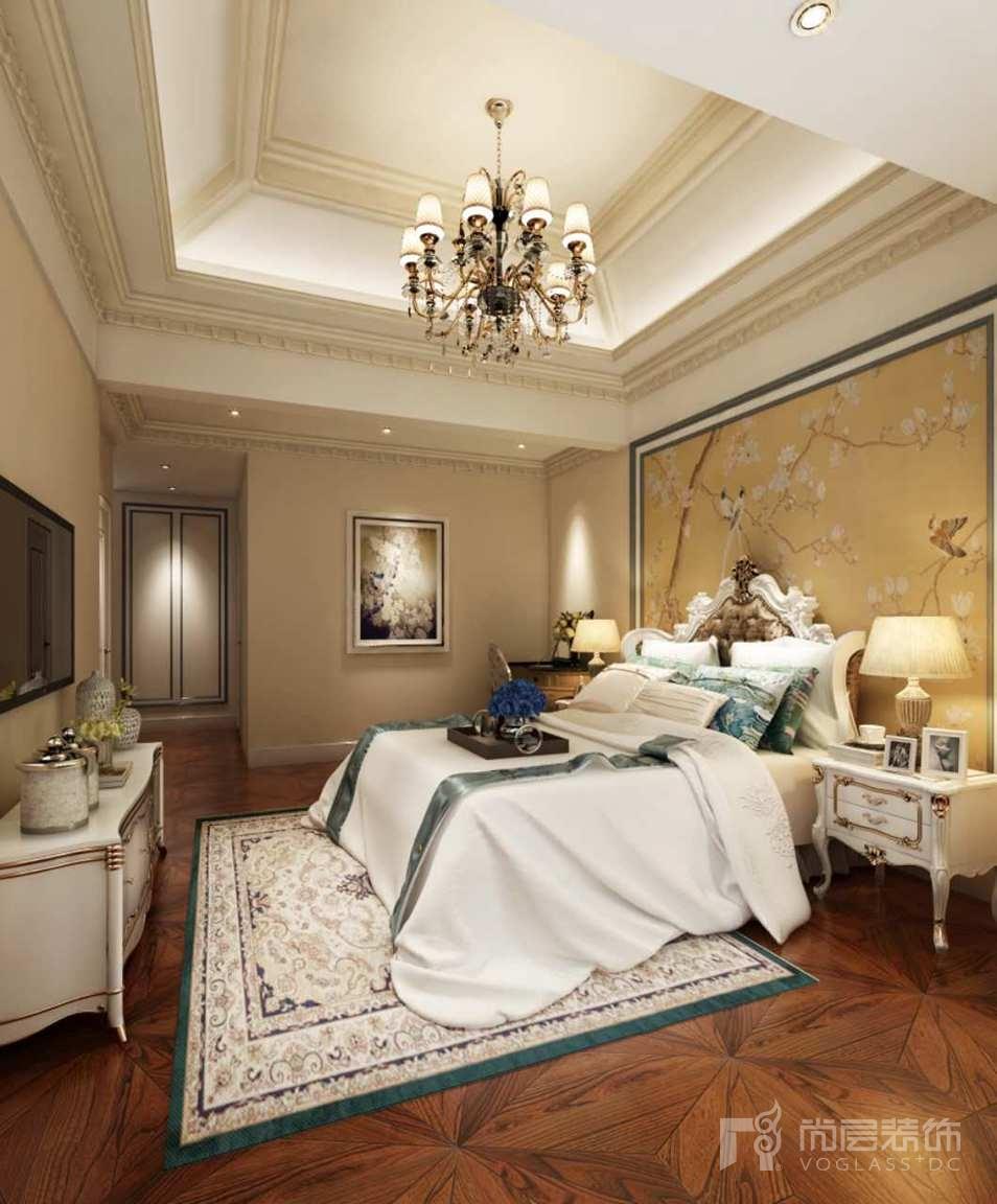 首创国际半岛美式主卧别墅设计装修效果图