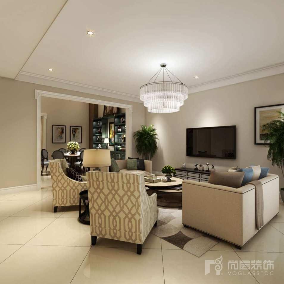 首创国际半岛美式客厅别墅设计装修效果图