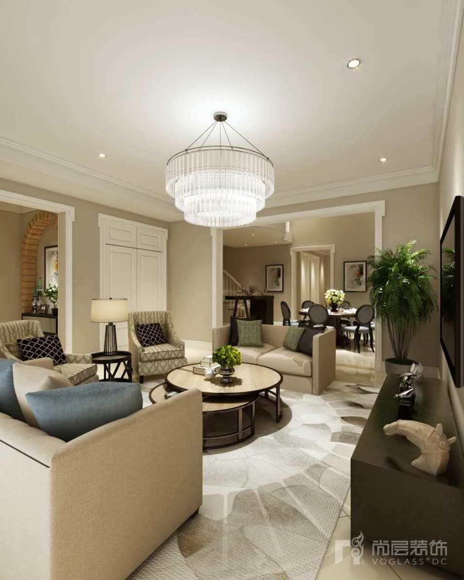 首创国际半岛美式客厅2别墅设计装修效果图