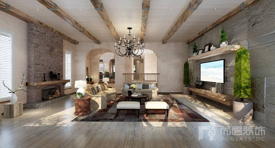 棕榈滩美式客厅别墅装修效果图